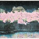 中山岳美/NAKAYAMA takeyoshi:夜桜(目黒川) 45×61 平版