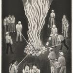 幸田美枝子/KOTA mieko:8月15日の焚火 32×23 銅版・メゾチント
