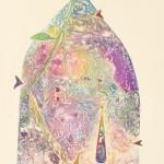 大久保澄子/OKUBO sumiko:森への誘【いざな】いⅢ A Temptation to the Forest Ⅲ 82×45 木版・エッチング・コラグラフ