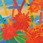 滋田 明/SHIGETA akira:赤い花と魚Ⅰ  S100 油彩