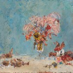 矢野素直/YANO sunao:枯れ花の静物 F80 油彩