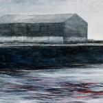 嶋 恒夫/SHIMA tsuneo:赤い流れ藻の来る港 M100 油彩