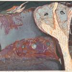 加藤隆亜/KATO takatsugu:思惟の時No.3(行方) 56×80 木版