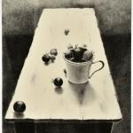 中畝 かほる/NAKAUNE kaoru:白いテーブル・15-1 87.5×71.5 平版・石版・雁皮刷り