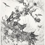 全田 紗和子/ZENDA sawako:夜の散歩道 44.6×36.2 銅版