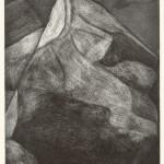 松田 洋子/MatsudaYoko:半分の岩 47×36.5 銅版