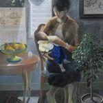 野村 正則/NOMURA masanori:窓辺の詩・母子 P100 アクリル