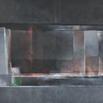 棚橋 隆/TANAHASHI takashi:黒い壁のある風景 F120 アクリル