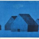 宮本典刀/MiyamotoNoriwaki:青の中で…(1)風景 36.5×50 銅版