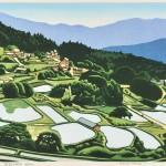 前田 光一/MAEDA koichi:坂折の棚田(恵那市) 40×55 木版