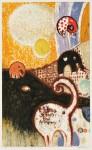 髙橋キョウシロウ/TAKAHASHI kyoshiro : アルフォンススの海-032 69×42 銅版・コラグラフ