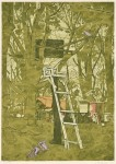 森島勇/MORISHIMA isamu : 森の中の椅子 78×55 木版