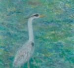 今關鷲人/IMAZEKI washindo : 鴨川のアオサギ 149×162 油彩