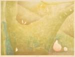 川井木綿/KAWAI yu : 風光る 45.5×60.6 木版