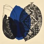 髙橋房雄/TAKAHASHI fusao : 青い花弁 60×62 木版