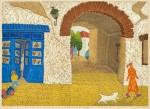 【奨励賞】杉谷 千速/SUGITANI chihaya:ゆるやかな石畳の路地 50×70 木版