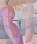 畔柳きよ子 / KUROYANAGI kiyoko : 予感~メバエ~ F130 油彩・布・紙のコラージュ