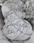 西川 光三 / NISHIKAWA mitsuzo : タマゴの中の視 F100 ペン画