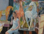 横山 了平 / YOKOYAMA ryohei : 騎馬図と石膏像 F80 油彩