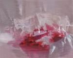 ヤダハルミ / YADA harumi : 赤いガラス F100 ジェッソ・油彩