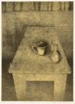 中畝かほる / NAKAUNE kaoru : 白いテーブル・17-1 87.5×71.5 平版・石版・雁皮刷り