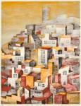 小島 道子 / KOJIMA michiko : 記憶-白い街・Ⅱ 65×50 木版