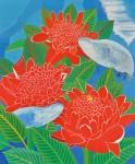 滋田  明 / SHIGETA akira : 赤い花と魚 F130 油彩