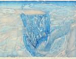 赤塚 美子/AKATSUKA yoshiko:或る情景-浜辺から- 58.5×43.5 水性木版