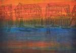 大井戸 百合子/OIDO yuriko:カニかご漁 25×35 木版・銅版・ミックス版