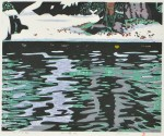 水谷 彰男/MIZUTANI akio:冬の鱒池 29×35 木版