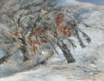 駒村 久弥/KOMAMURA kyuya:雪の朝画室の窓よりA F50 油彩