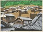 前田 光一/MAEDA koichi:石垣の集落(愛媛,外泊) 40×55 木版