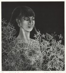 横瀬 信子/YOKOSE nobuko:モデルと白い花-2019 49×45 銅版・メゾチント