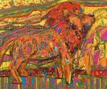 石川 茂/ISHIKAWA shigeru:愛と平和の種子を蒔く平成のライオン F130 アクリル