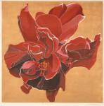 仲野 壽志/NAKANO hisashi:Red flower 2019-1 60×60 木版