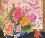 長森 聰/NAGAMORI satoshi:花開く薔薇と小さなエッフェル塔 38.4×48.2 水彩