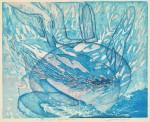 赤塚 美子/AKATSUKA yoshiko:土俵の上でお・ど・る 43.5×54.5 木版