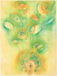 北田友美子/KITADA yumiko:タンポポ占い 82×62 木版
