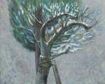 山本 弘子/YAMAMOTO hiroko:「病める樹」に雪ふる F100 油彩