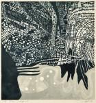田中 洋子/TANAKA yoko:Poem indigo 12 64×60 木版