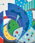 【会友賞】齋藤 武夫/SAITO takeo:青の記憶…(Ⅱ) 60×50 孔版