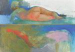 野口 俊文/NOGUCHI toshifumi:裸婦とサーカス 75×150 アクリル