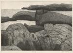 松田 洋子/MATSUDA yoko:海辺の岩 36.5×52 銅版