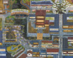 檜垣友見子/HIGAKI yumiko:賑やかな藤の街 F100 油彩