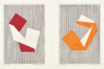 舩坂 芳助/FUNASAKA yoshisuke:VERTICAL LINES-ORIGAMI. MM388-KODAISHU. MM395-KABA 45×30 木版